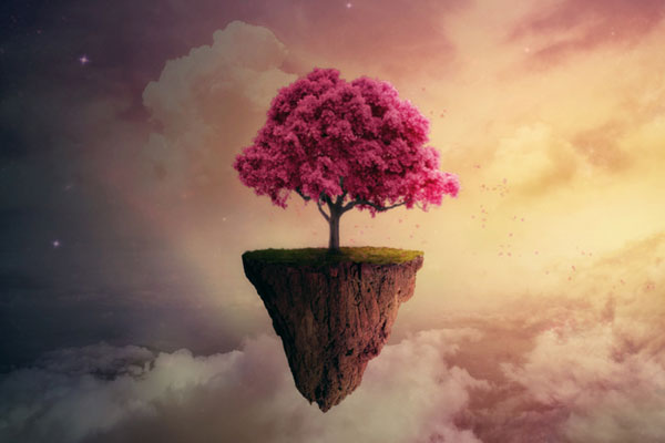 a photomanipulated image of a flowering cherry tree on a floating island, with a starry background by Maria Tomczak